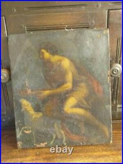 Tableau Ancienne religieuse Peinture À Huile sur Toile vers XVII école Poussin