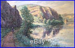 Tableau Emile GAUFFRIAUD (1877-1957) Lavandières creuse école Crozant Bretagne