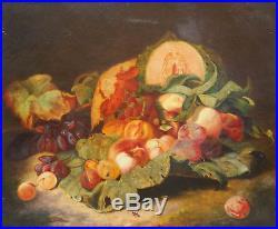 Tableau HST 1888 Superbe Nature morte Melon Prune Pêche Raisin pour restauration