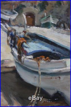 Tableau HST Barque 1962 Josep SARQUELLA (1928-2000) Ecole espagnole