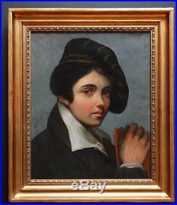 Tableau HST Portrait jeune femme voyageuse époque début XIX, école française
