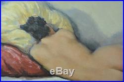 Tableau HST art deco Érotique Nu couché portrait femme César Vilot Razoumov