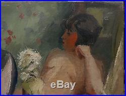Tableau Huile Scène d'Intérieur Nu Féminin FERNAND LABAT (1889-1959) Bordeaux