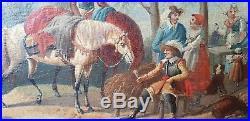 Tableau Huile Sur Toile Halte aux chevaux XVIII ème signature à identifier