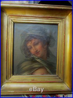 Tableau Huile Sur Toile Portrait Empire Jeune Fille Epoque XIX Eme Vers 1830