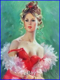 Tableau Huile Sur Toile Valentin Skribins Peintre Russe Femme Au Boa 10m
