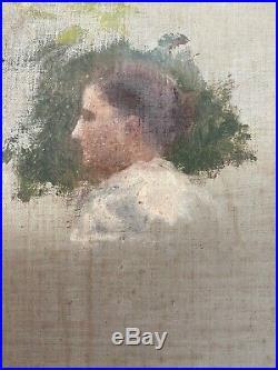 Tableau Impressionnisme portrait femme Peinture de Jules C. Cavé 1859-1949