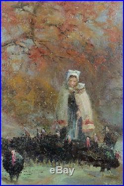 Tableau Impressionniste 19ème Paysage Dindons Rouen Marcel Couchaux Normandie