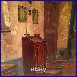 Tableau Impressionniste SERVAES (XXe) Intérieur de château Huile sur Toile Signé