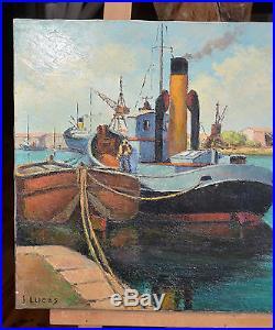 Tableau. Marine, huile sur toile Port la Nouvelle de Jaques LUCAS, années 50