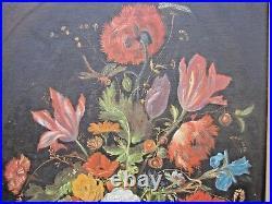 Tableau Merveilleux Bouquet Ancien-ecole Flamande-signé-huile Toile-cadre Bois