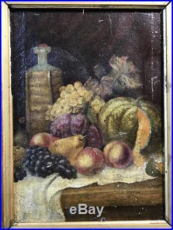 Tableau / Peinture Ancienne Huile Sur Toile Nature Morte Bien Encadré