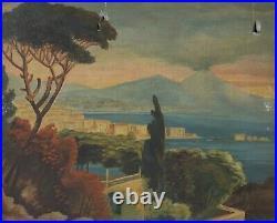 Tableau Peinture Ancienne Huile signé Pinatel, Ecole Italienne Vésuve, Naples