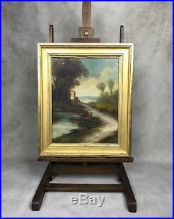 Tableau / Peinture / Huile Sur Toile Femme Au Bord De L Eau Signée Vanneau