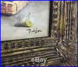 Tableau / Peinture / Huile Sur Toile Nature Morte Aux Pêches Signée D. Lebon