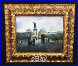 Tableau / Peinture / Huile Sur Toile Place De La République / Bien Encadrée