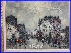 Tableau / Peinture Sur Toile Scene Animée A Paris De (simon Kramer 1940)