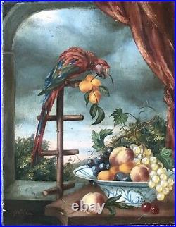 Tableau Peinture à lhuile Nature Morte Coupe de Fruits Oiseau XIXe