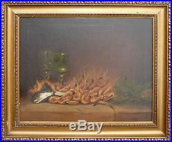 Tableau XIX° le Bouquet de crevettes et verre de vin, moules Art culinaire