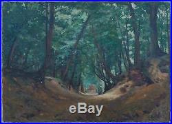 Tableau XIX° paysage de sous bois Barbizon signé P. Quinet HST