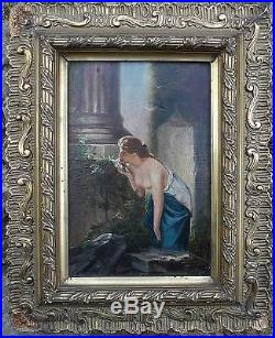 Tableau XIX° siècle femme dénudée humant les fleurs Ruines + cadre signé L. V