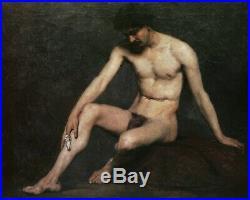 Tableau XIXème académie homme nu modèle atelier 19ème siècle doigt blessé étude