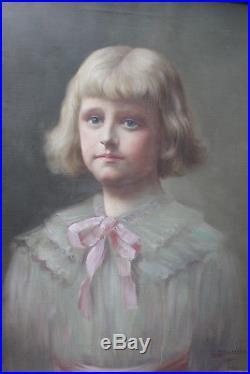 Tableau ancen HST Portrait de jeune fille 1921 Julien STAPPERS 1875-1960