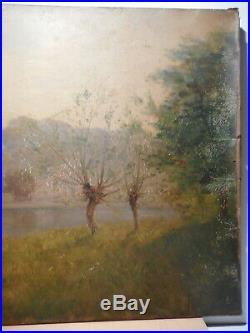 Tableau ancien 19 siècle peinture Francisque PREVEL D'ARLAY chateau bord rivière