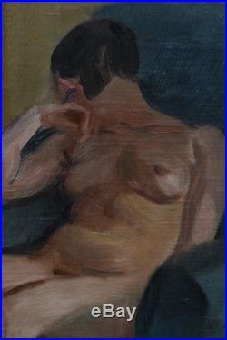 Tableau ancien Art Deco hst Portrait Femme Nu Assis Fauteuil Bleu Fernand SIMEON