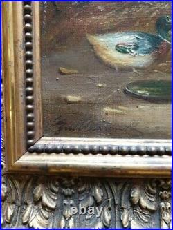 Tableau ancien Claude Guilleminet scène de basse cour poules coq canard poussins