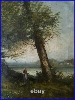 Tableau ancien, École de Barbizon XIXème siècle. Paysage animé