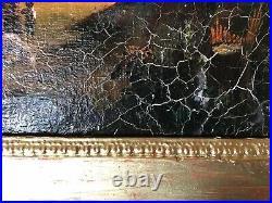 Tableau ancien Ferme Animee Du XIXeme Attribué À F. V. Wille (ec. All.) 30x23cm HC