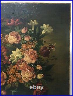 Tableau ancien, HST, Nature morte aux fleurs, papillon et escargot, XIXe