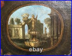 Tableau ancien, HST, Parc à l'Antique, Médaillon, Fleurs, Ecole espagnole, XVIIe