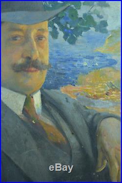 Tableau ancien HST art nouveau Portrait d'homme Louis Delfau Perpignan Catalan