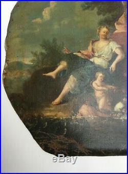 Tableau ancien, Huile sur toile, Femme enfants et cygne, XVIIIe