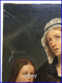 Tableau ancien, Huile sur toile, Madone, Portrait, Femme et enfants, XIXe