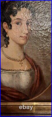 Tableau ancien, Huile sur toile portrait de dame de qualité, XIXe ou avant