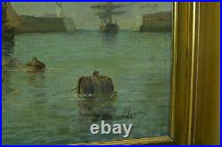 Tableau ancien Marine 19ème signée Berton Bordeaux Bateaux au port départ pêche