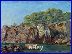 Tableau ancien Marine Saint-Raphael, AGAY les roches rouges A. GAUDIBERT, ATHENOSY