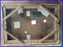 Tableau ancien Passage de gué, Monogrammé JL. HST du XIXeme 52x37 cm HC