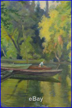 Tableau ancien Paysage Bord de Seine animé Grands Arbres Octave Hariot rare 1900