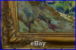 Tableau ancien Paysage Bord de mer Côte Rocheuse Eté 19é Gaston Guignard hst