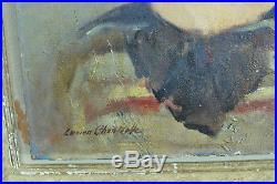 Tableau ancien Portrait jeune fille aux yeux noirs Lucien Chantrelle expo 30'hst
