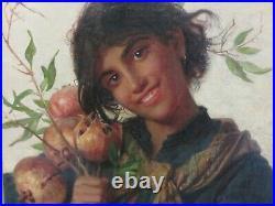 Tableau ancien Sophie Anderson 19th, jeune fille aux grenades, old oil painting