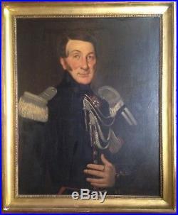 Tableau ancien XIXe Grand Portrait d'un Militaire Légion D'Honneur Huile 19e