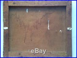 Tableau ancien XIXeme Scène galante Parc Romantique Huile Toile Signée WEINKANN