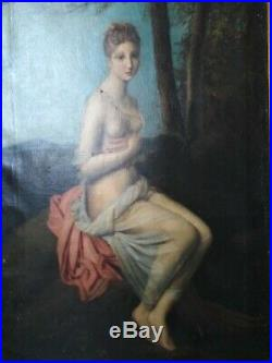 Tableau ancien antique néo classique jeune femme Psyché François Gérard