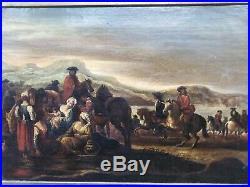 Tableau ancien cavaliers chevaux guerre ligue Augsbourg halte xvii-xviiième