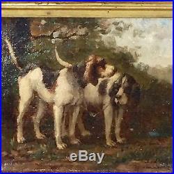 Tableau ancien, chiens de chasse